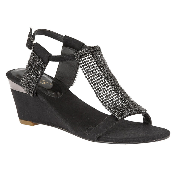 Lotus Claudia Chainmail Diamante Wedge Sandals