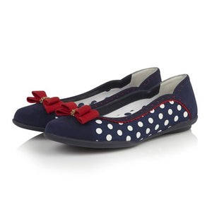 Ruby Shoo Lizzie Navy Spots Ballet Flat Shoes - elevate your sole