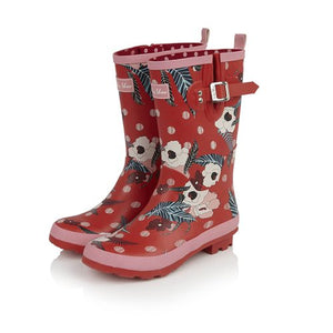 Ruby Shoo Hermione Red Pink Floral Mid Calf Wellies - elevate your sole