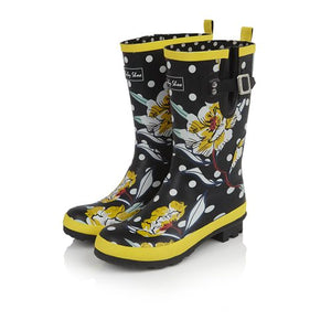 Ruby Shoo Hermione Black Floral Mid Calf Wellies - elevate your sole