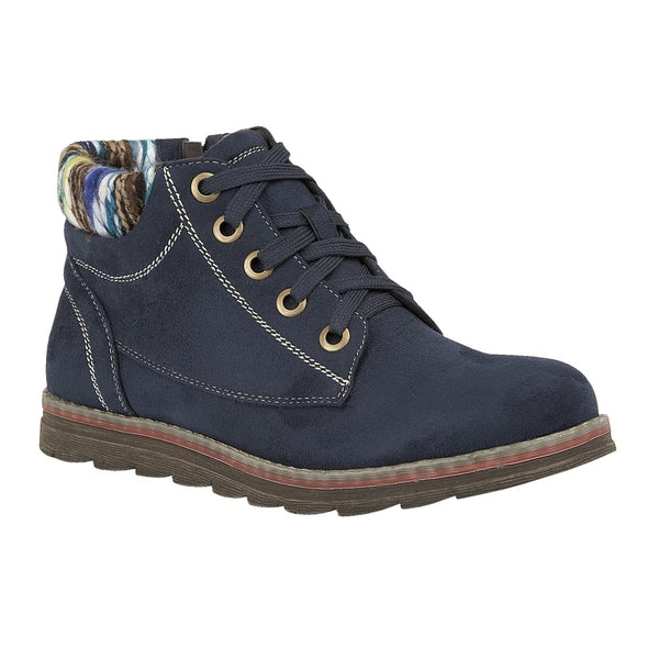 Lotus Sequoia Dark Navy Lace Up Ankle Boots