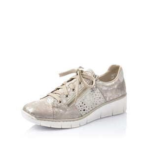 Rieker 53715-90 Ladies Rose Metallic/Cement Trainers
