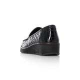 Rieker 537Q0-00 Ladies Black Patent Leather Croc Wedge Shoe