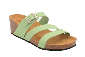Oxygen Alicante Lime Leather Adjustable Buckle Strap Mules