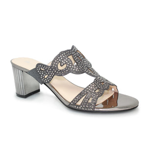Lunar JLH 009 Kyra Pewter Glitz Evening Slip On Sandal