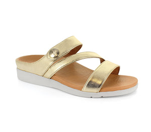 Strive Azore Ladies Light Gold Leather Strappy Mule Sandals