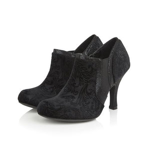 Ruby Shoo Juno Black Velvet Heeled Shoe Boots - elevate your sole