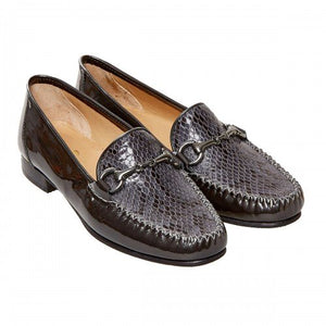 Van Dal Putnam Storm Grey Patent Snake Loafers - elevate your sole