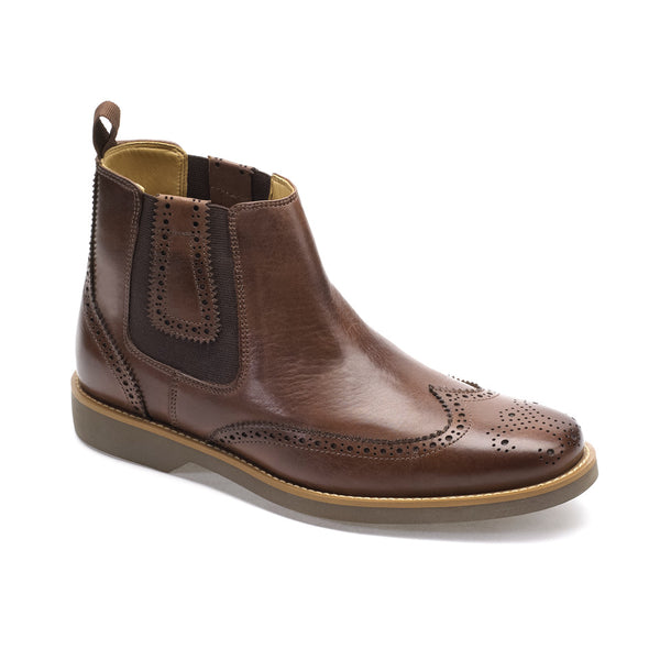 Anatomic Gustavo Touch Brown Coffee Brogue Leather Chelsea Boots