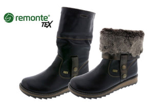 Remonte D8874-01 Black Leather Lambs Wool Lined Ankle Calf Length Boots