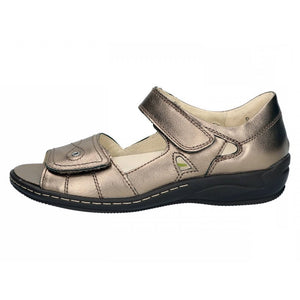 Waldlaufer 582028 138 103 Hilena Ladies Pewter Bronze Leather wider Fit double Hook and Loop Strap Sandals