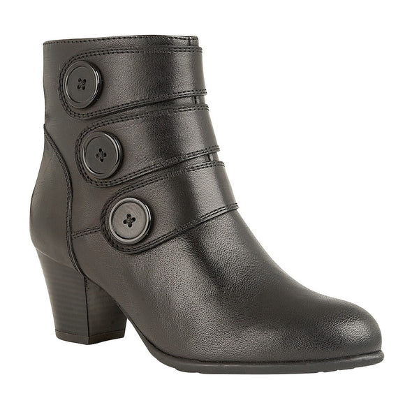 Lotus Locasta Black Leather Ankle Boots