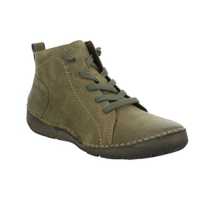 Josef Seibel Fergey 86 Ladies Olive Green Leather Ankle Boots