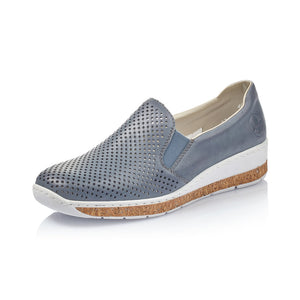 Rieker 59776-10 Light Blue Leather Slip On Shoes
