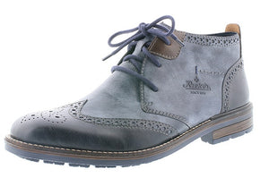 Rieker B1343-14 Mens Blue Combi Brogue Lace Up Ankle Boots