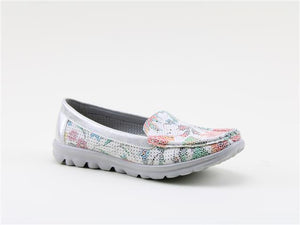Heavenly Feet Sunflower Ladies White Silver Floral Deck Shoes