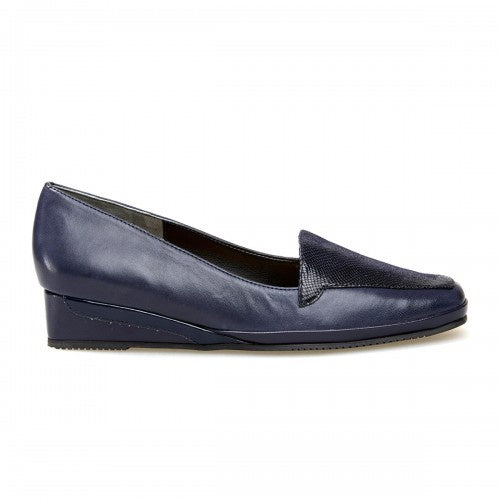 Van Dal Verona Midnight Navy Reptile Print Leather Wedges