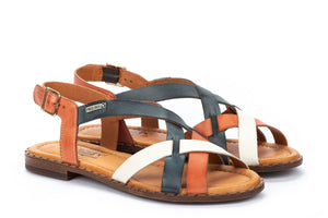 Pikolinos W0X-0556C1 Algar Scarlet Navy White Multi Leather Strappy Sandals