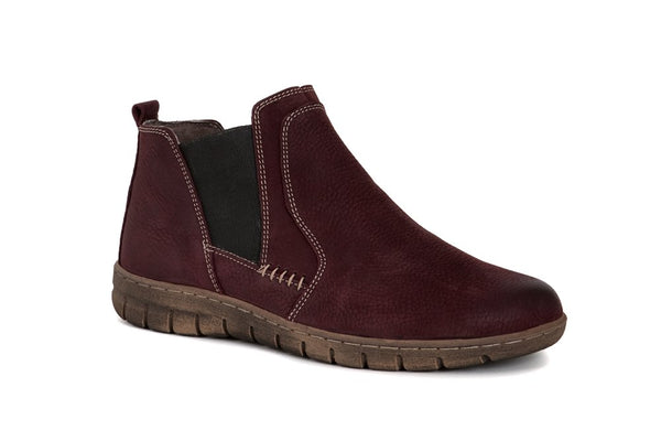 Josef Seibel Steffi 49 Bordo Red Nubuck Leather Boots