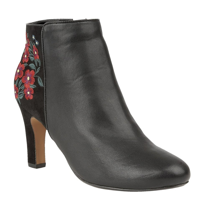 Lotus Parisa Black Matt Smart Heeled Ankle Boots - elevate your sole