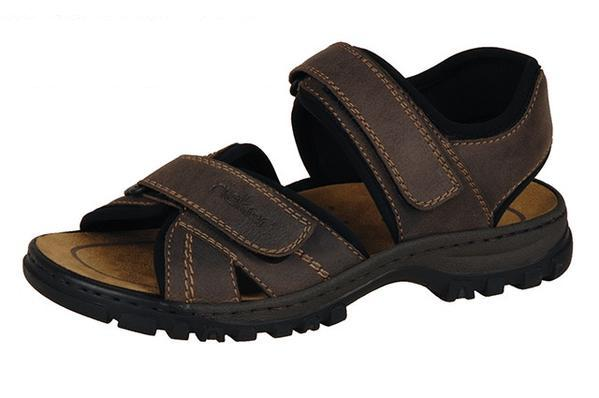 Rieker 25051-27 Mens Brown Hook and Loop Strap Sandals