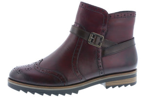 Remonte R2278-36 Red Leather Zip Up Ankle Boots - elevate your sole