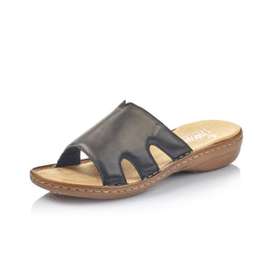 Rieker 60824-00 Ladies Black Leather Mule Sandal