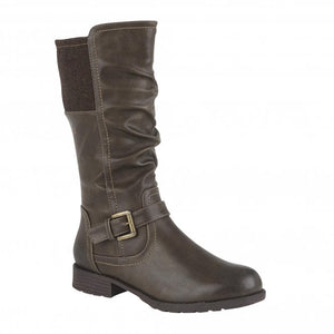 Lotus Adriana Brown Faux Leather Mid Calf Lined Boots - elevate your sole