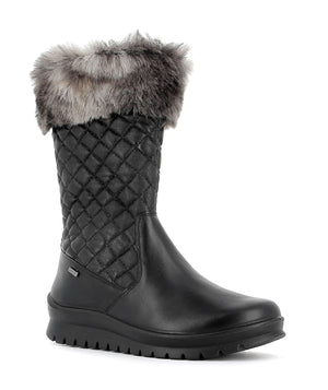 Alpina Loara H 0L5701 Black Leather Water Resistant Wool Lined Mid Calf Boots - elevate your sole