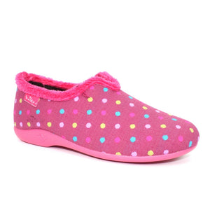 Lunar Lava KLA112 Ladies Pink Polka Dot High Back  Slippers