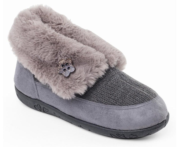Padders Eden Grey Beige Boot Slippers - elevate your sole