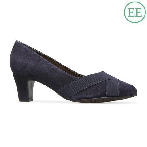 49bca84292d233 Van Dal Oakes Midnight Suede   Elastic Leather Court Shoes EE