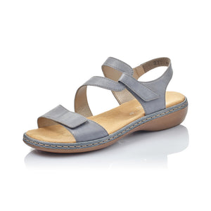 Rieker 659C7-12 Ladies Blue Grey Leather Sandals