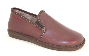Nordika 663 Mens Burgundy Leather Full Slipper