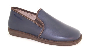Nordika 663 Mens Marino Navy Leather Full Slipper