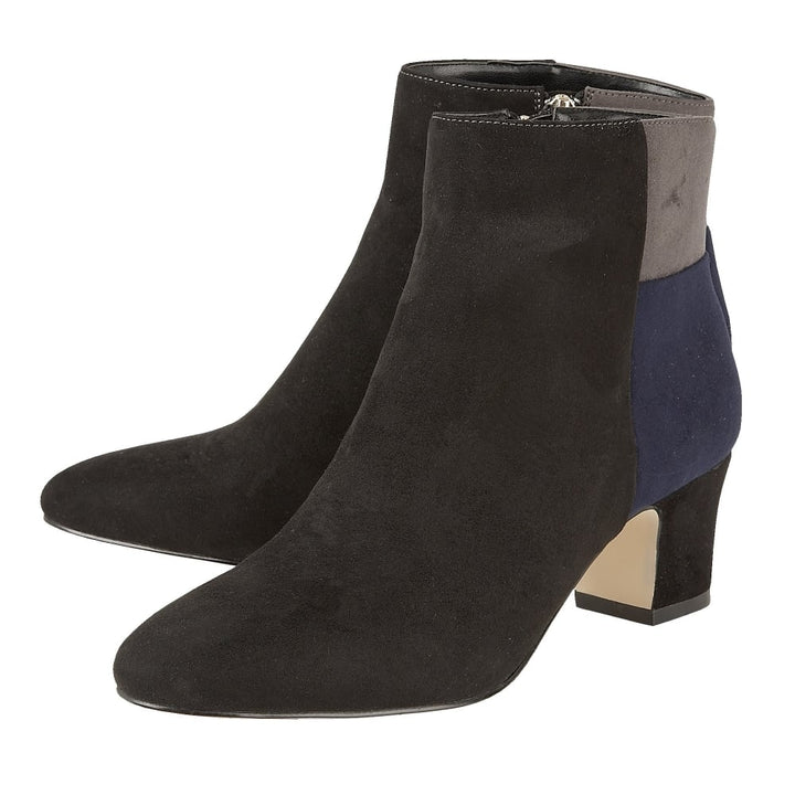 Lotus Clara Black Ladies Microfibre Ankle Boots - elevate your sole