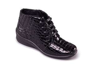 Padders Tanya Ladies Black Croc Leather Wide Ankle Boots