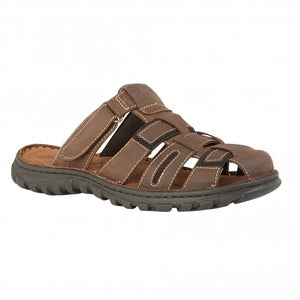 Lotus Doran Mens Brown Leather Mule Sandals