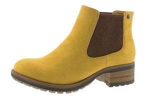 Rieker 96884-68 Mustard Yellow Faux Fur Lined Ankle Chelsea Boots - elevate your sole