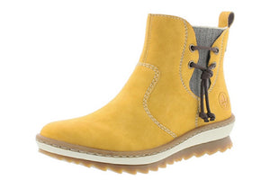 Rieker Z8691-68 Anti Stress Yellow Warm Lining Zip Up Ankle Boots - elevate your sole