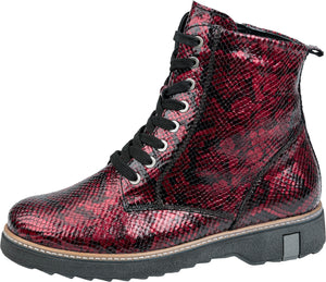 Waldlaufer 683801 145 022 Kitomi Ladies Wider Fitting Ruby Red Leather Lace Up Ankle Boot