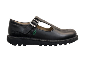 Kickers Kick T Cor Black Leather School Shoes
