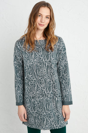 Seasalt Script Writer Ladies Drawn Daffodils Nickel Navy Floral Tunic