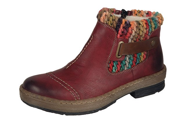 Rieker Z6784-35 Red Combination Collar Ankle Boots