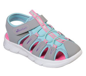 Skechers 86939L C Flex Girls Grey/Turquoise Sandals - elevate your sole