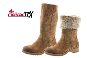 Rieker 96854-24 Tan Brown Fleece Lined Water Resistant Mid Calf Adjustable Block Heel Boots