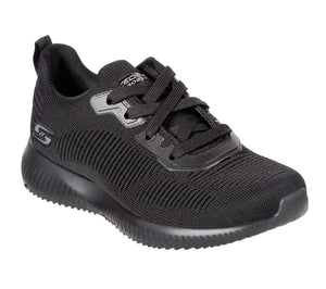 Skechers 32504 Bobs Squad Tough Talk Ladies Black Lace Up Trainers