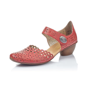 Rieker 43753-33 Ladies Red Perforated Leather Touch Fastening Shoes