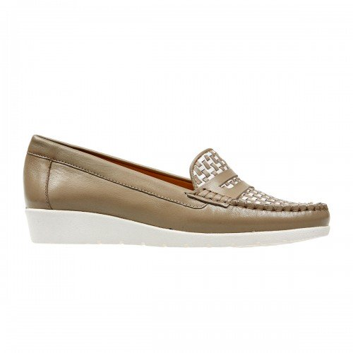 Van Dal Mitchell Taupe & White Leather Loafer Shoes