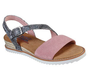 Skechers 113004 Desert Kiss Cactus Ladies Rose Blush and Snake Print Sandals